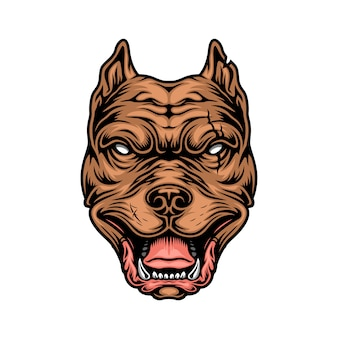 Cabeça de pitbull cruel colorido vintage