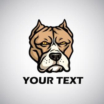 Cabeça de pitbull logo vector ilustração ícone emlem template