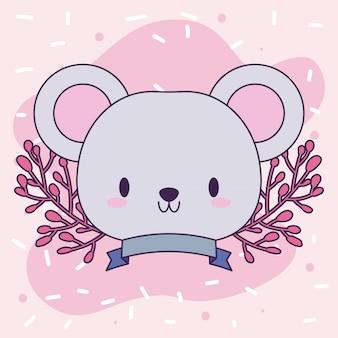 Cabeça de rato kawaii com decoração