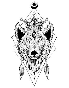 Cabeça de rei lobo