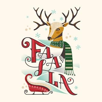 Cabeça de rena feliz com lenço e trenó de natal