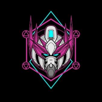 Cabeça de robô assassino com geometria sagrada 13