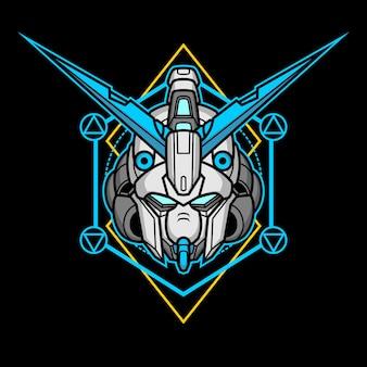 Cabeça de robô assassino com geometria sagrada 15