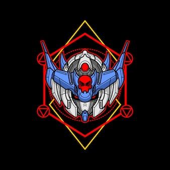 Cabeça de robô assassino com geometria sagrada 3