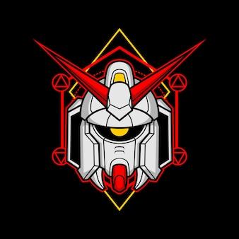 Cabeça de robô assassino com geometria sagrada 8