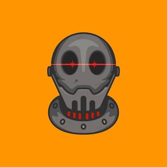 Cabeça de robô careca com olhos vermelhos brilhantes