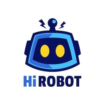 Cabeça de robô de desenho animado com design de logotipo de antena