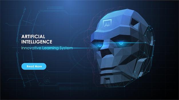 Cabeça de robô em interpretação de computador digital