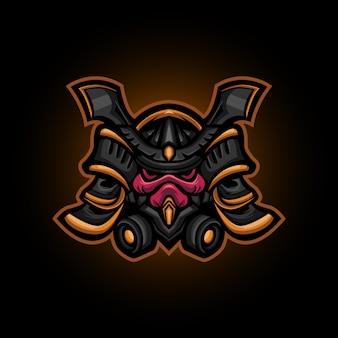 Cabeça de robô samurai ronin, design de logotipo de esportes samurai