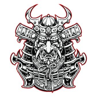 Cabeça de samurai com ilustração a preto e branco do capacete