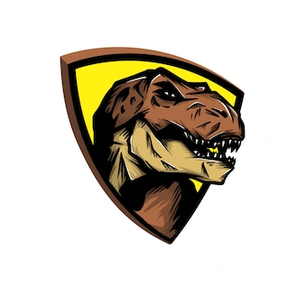 Cabeça de t-rex para logotipo de esporte