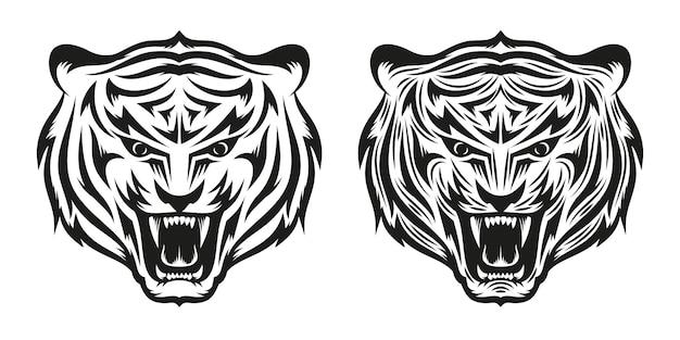 Cabeça de tatuagem de tigre rosnando em duas versões, simples e detalhada. ilustração.
