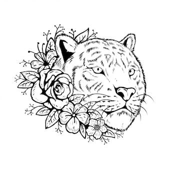 Cabeça de tigre animal com design floral