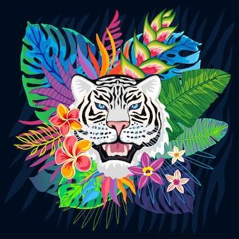 Cabeça de tigre branca em folhas tropicais coloridas