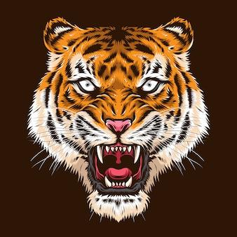 Cabeça de tigre bravo logotipo