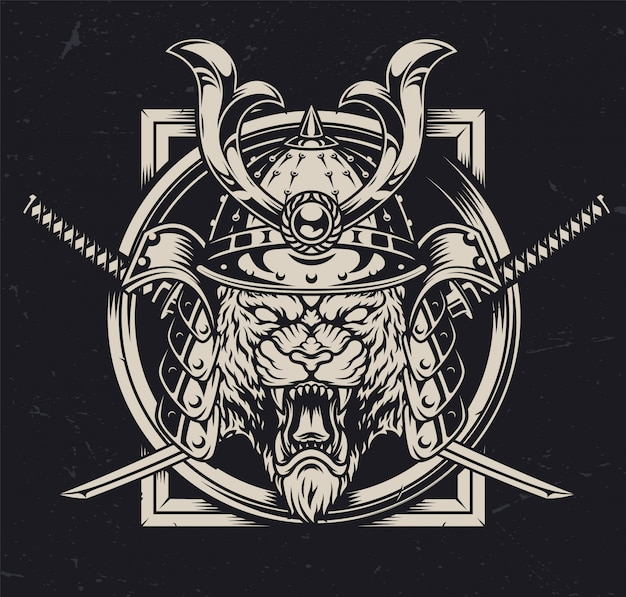 Cabeça de tigre bravo no capacete samurai