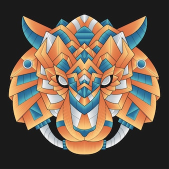 Cabeça de tigre colorida
