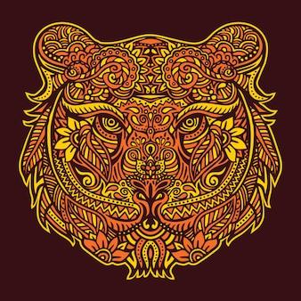 Cabeça de tigre com design ornamental estilo paisley padrão