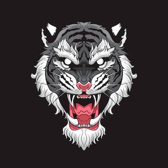 Cabeça de tigre com fundo preto