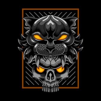 Cabeça de tigre com ilustração vetorial de crânio