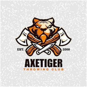 Cabeça de tigre com machados e facas, logotipo do clube de arremesso.