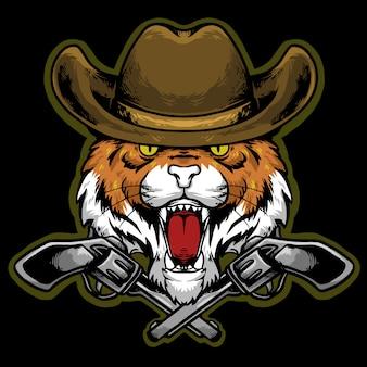 Cabeça de tigre com mascote de logotipo de chapéu e arma de cowboy