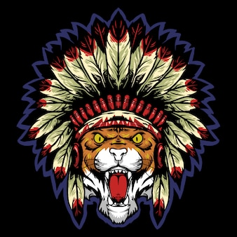 Cabeça de tigre com mascote de logotipo de chapéu tradicional apache