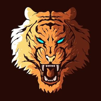 Cabeça de tigre com raiva