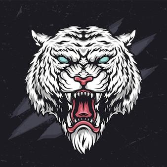 Cabeça de tigre cruel com raiva feroz