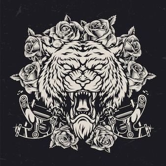 Cabeça de tigre cruel conceito vintage