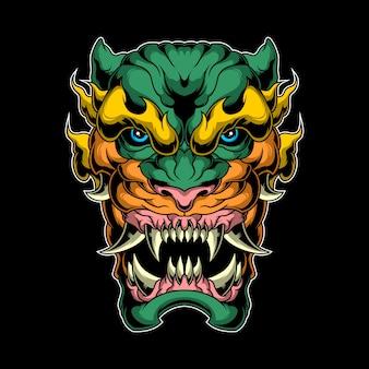 Cabeça de tigre de fantasia