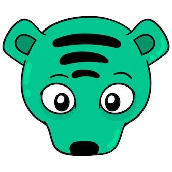 Cabeça de tigre do canto superior, emoticon de caixa de ilustração vetorial. desenho do ícone do doodle