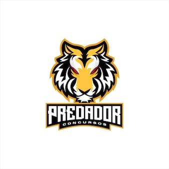 Cabeça de tigre e logotipo de esportes
