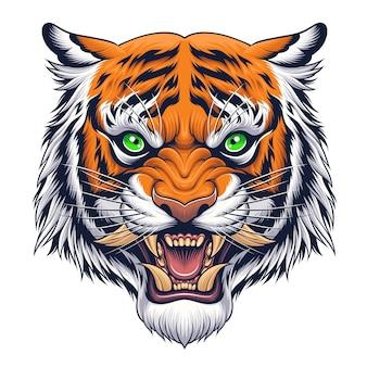 Cabeça de tigre em ilustração de estilo japonês