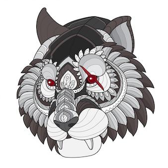 Cabeça de tigre estilizado de emaranhado de zen