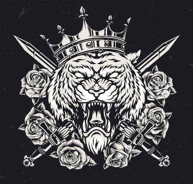 Cabeça de tigre feroz na coroa real