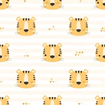 Cabeça de tigre fofo na grade dos desenhos animados doodle padrão sem emenda