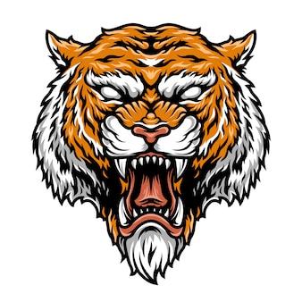 Cabeça de tigre forte agressivo colorido
