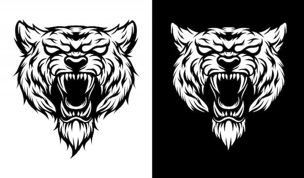 Cabeça de tigre ilustração a preto e branco