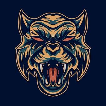 Cabeça de tigre ilustração boca aberta