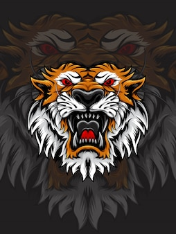 Cabeça de tigre laranja e branca