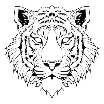 Cabeça de tigre linha arte ilustração