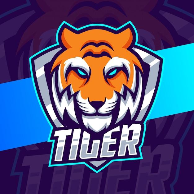 Cabeça de tigre mascote esport design de logotipo