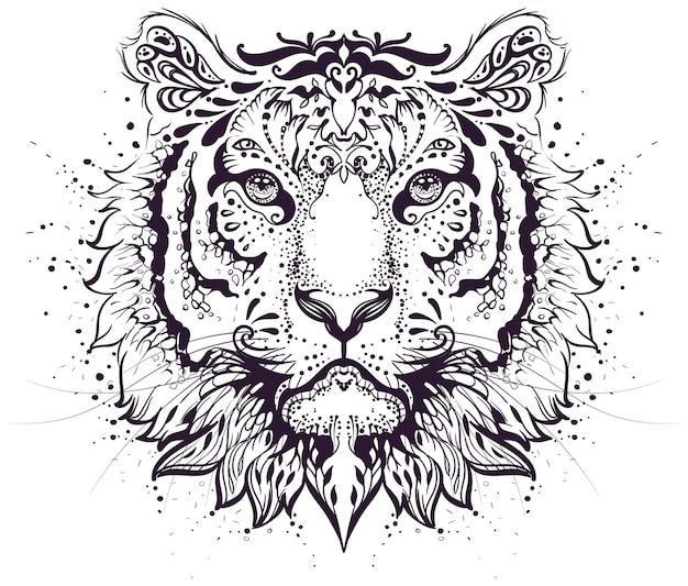Cabeça de tigre padrão abstrato símbolo signo do zodíaco de 2022 anos. ilustração isolada