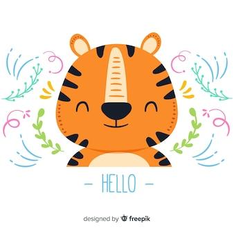 Cabeça de tigre plana