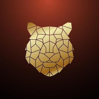 Cabeça de tigre poligonal de ouro