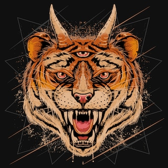 Cabeça de tigre rosto irritado com chifre e três olhos de detalhe com camadas editable grunge efeito