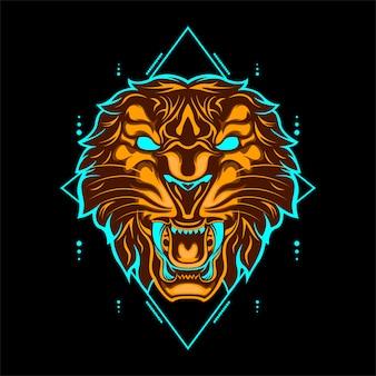 Cabeça de tigre selvagem cor laranja com ornamentos geométricos abstratos