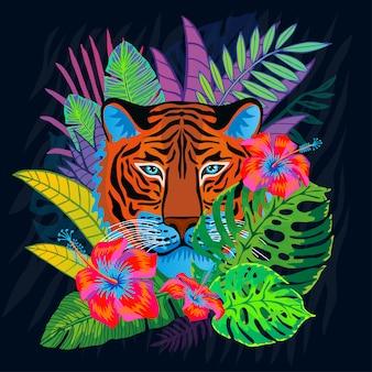Cabeça de tigre vermelho gato selvagem na selva colorida. floresta tropical deixa o desenho de fundo. tiger stripes character art ilustração