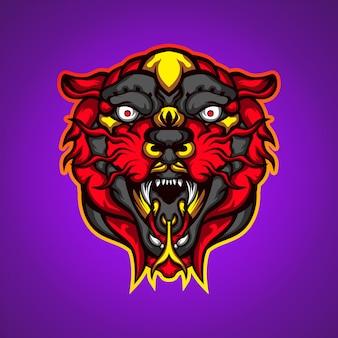 Cabeça de tigre vermelho selvagem logotipo de mascote de jogos